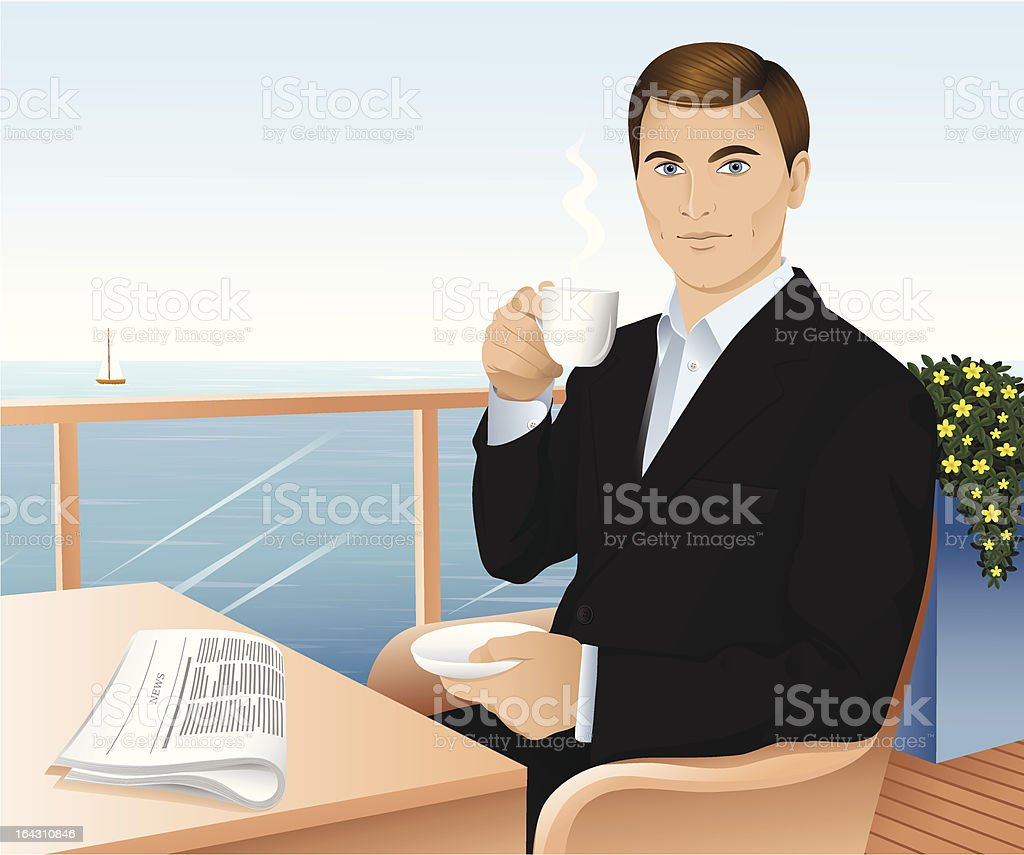 Man with a cup. royalty-free stock vector art