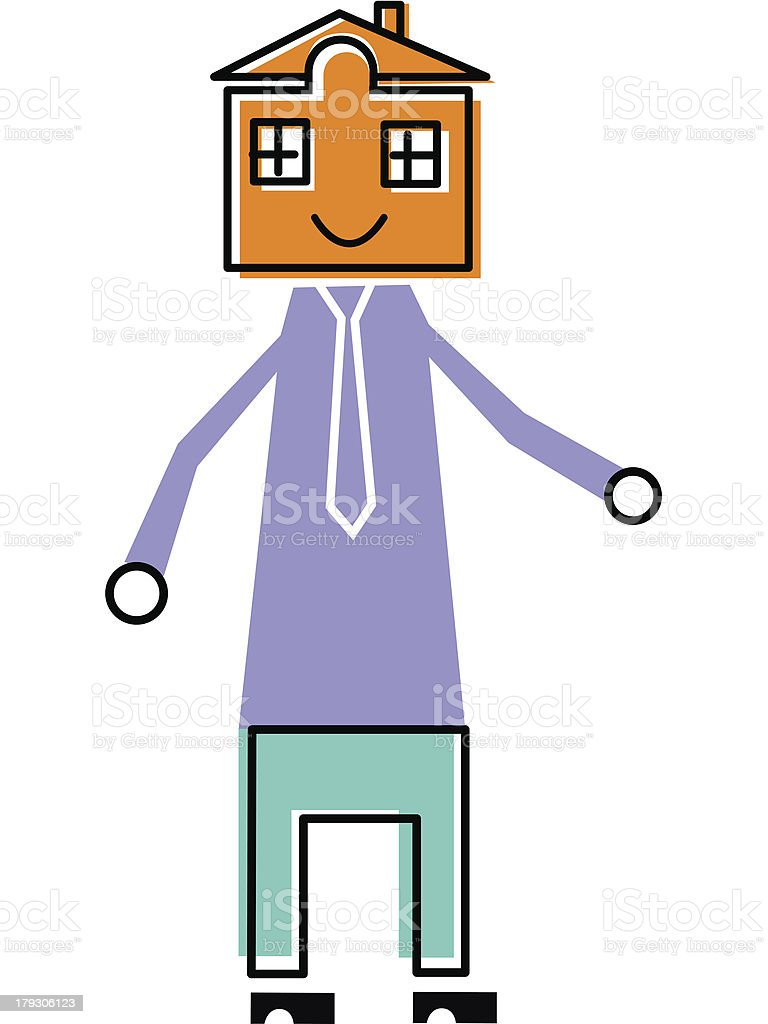 Man with a house for head royalty-free stock vector art