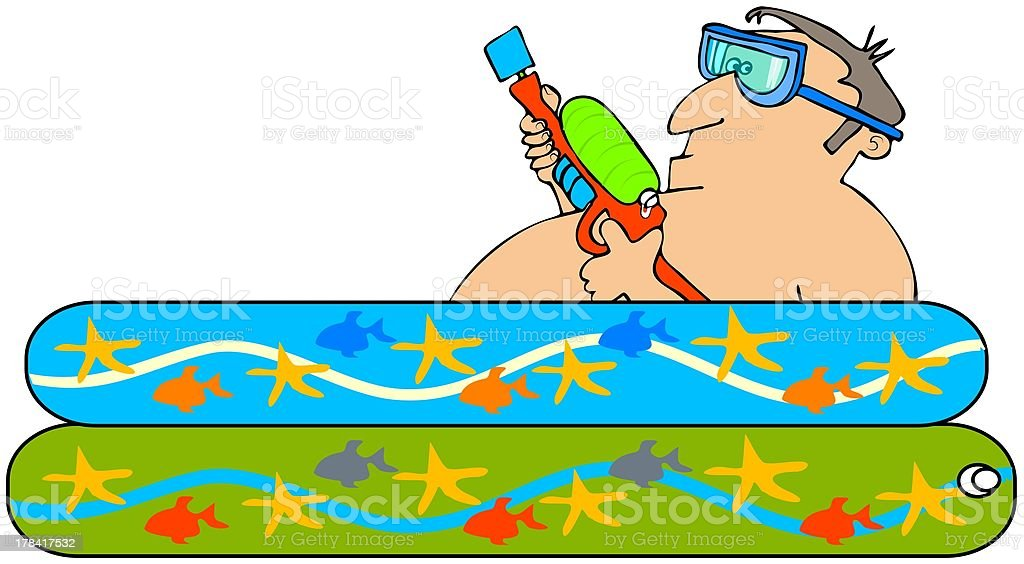 Man with a squirt gun vector art illustration