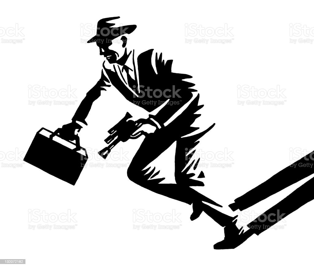 Man With Briefcase Running royalty-free stock vector art