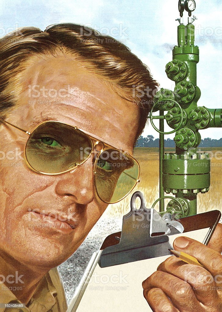 Man With Clipboard and Gas Equipment royalty-free stock vector art