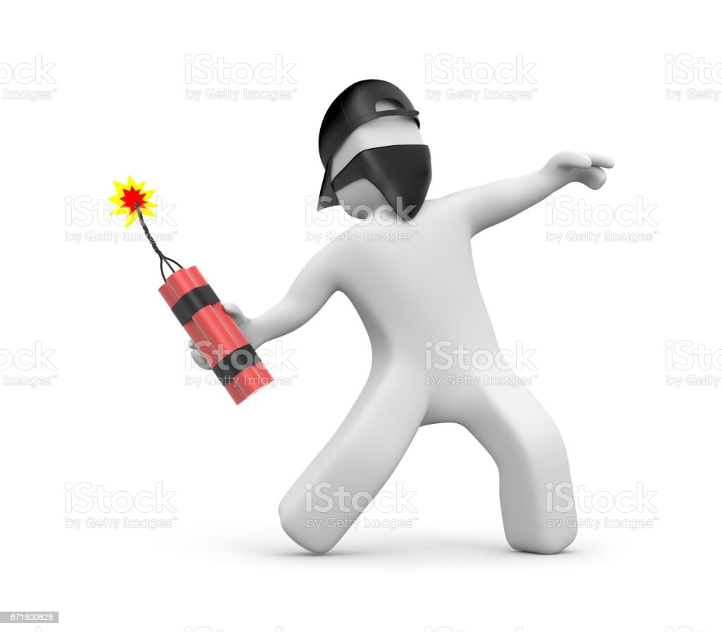 3D man with dynamite in the mask and cap - riots, street protest. 3d illustration stock photo
