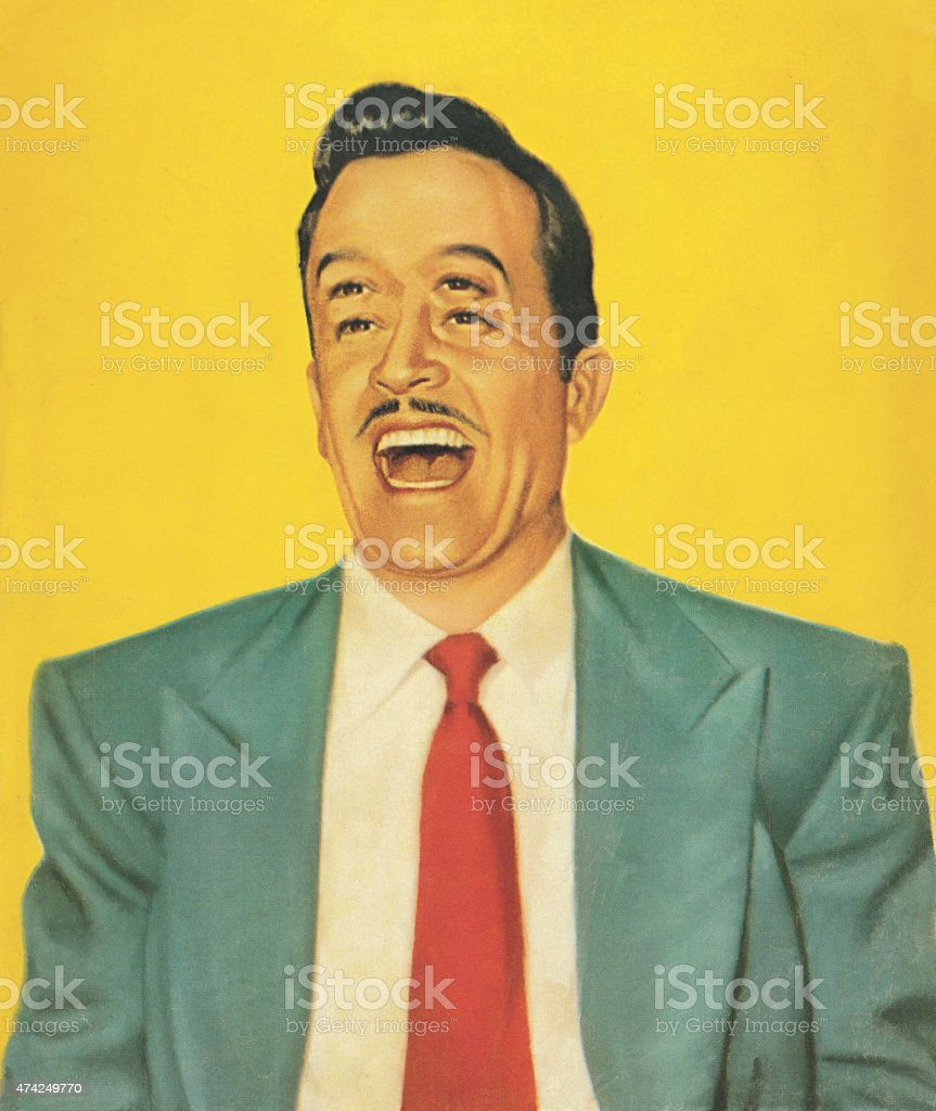 Man With Four Eyes Laughing vector art illustration