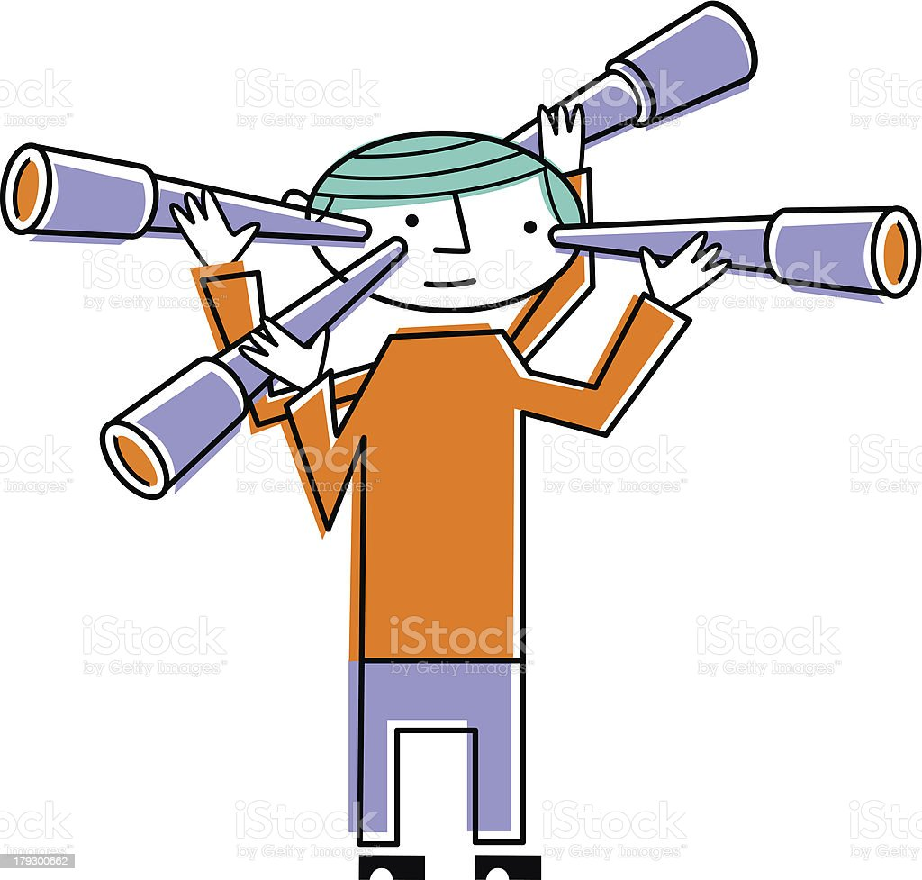 Man with four telescopes royalty-free stock vector art