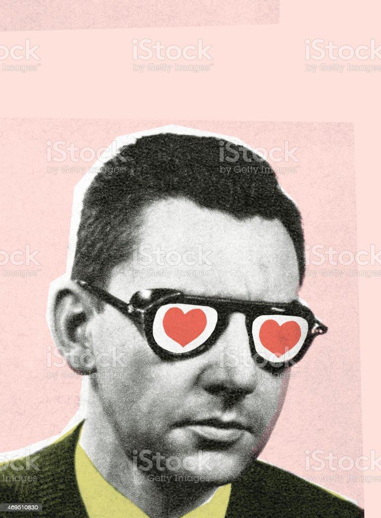 Man with glasses vector art illustration
