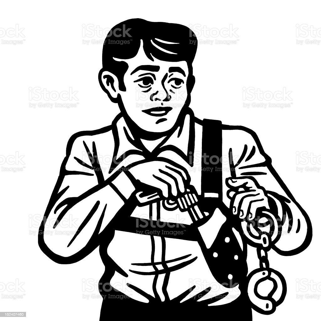 Man With Gun and Handcuffs vector art illustration