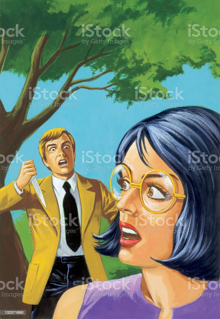 Man with Knife Chasing Woman royalty-free stock vector art