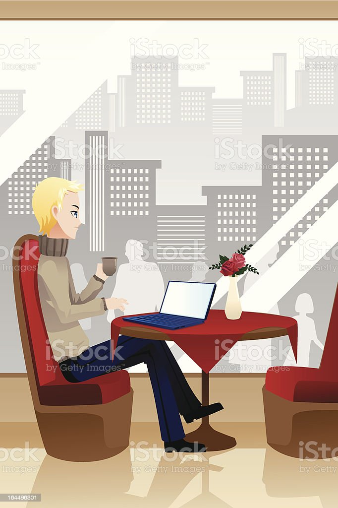 Man with laptop royalty-free stock vector art