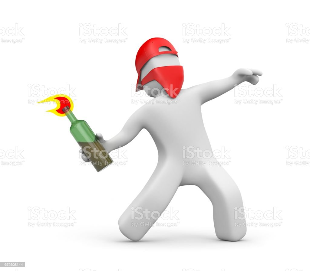 3D man with Molotov cocktail in the mask and cap - riots, street protest. 3d illustration stock photo