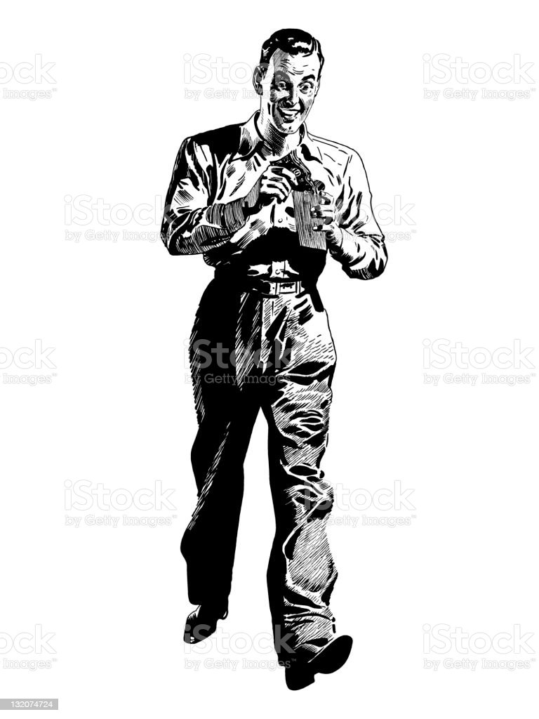 Man With Money Walking royalty-free stock vector art