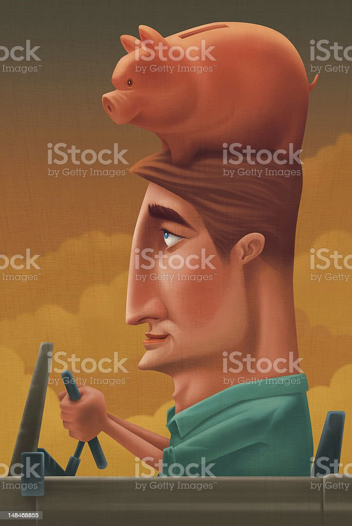 man with piggy bank royalty-free stock vector art