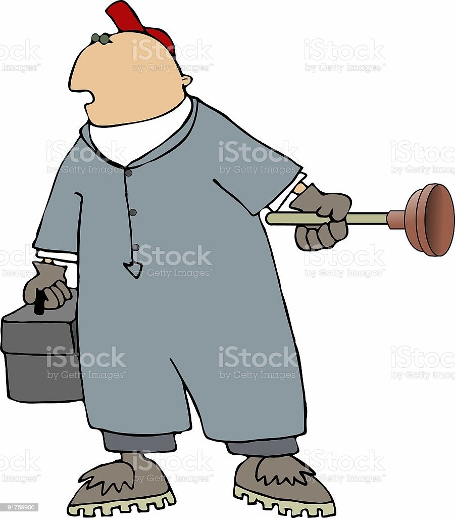 Man with plunger royalty-free stock vector art