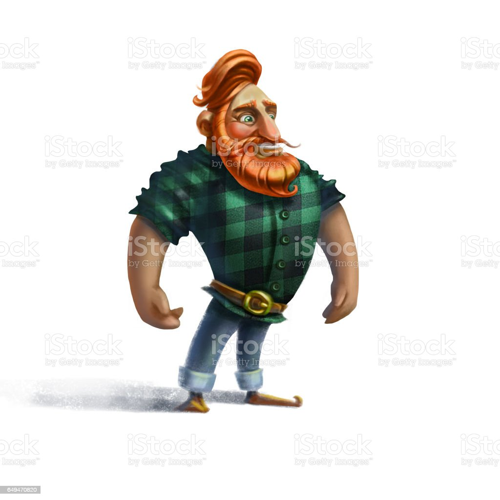 man with red beard vector art illustration