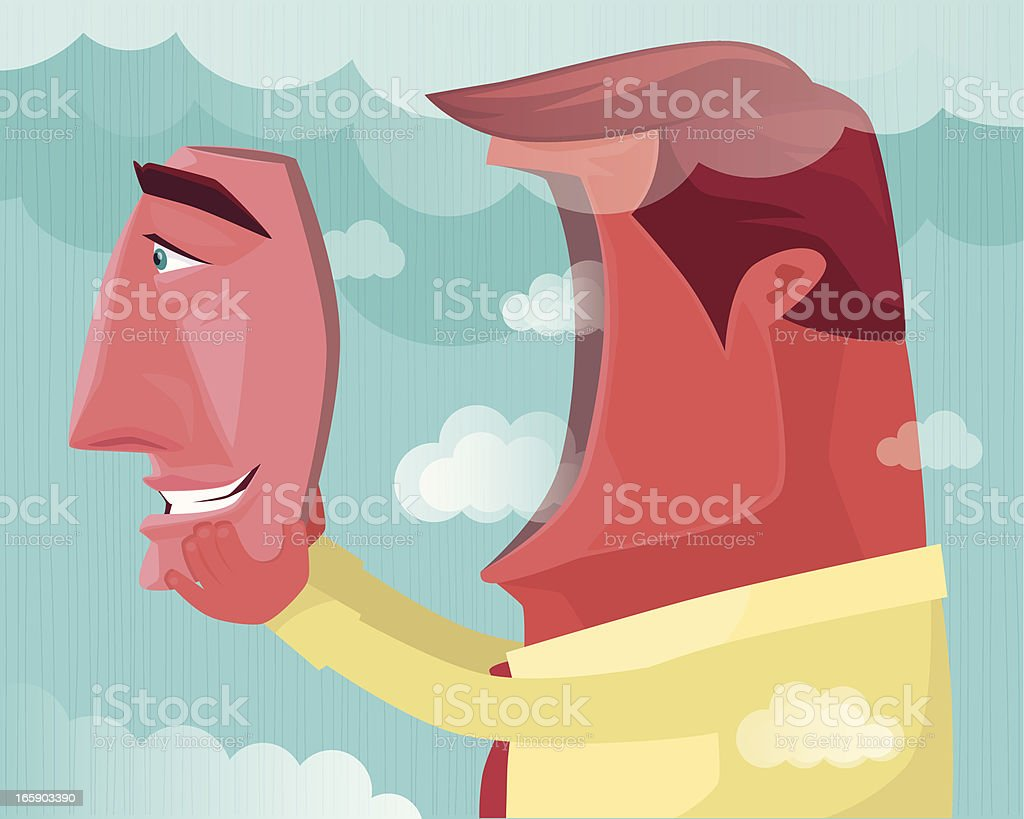 man with smiling face vector art illustration