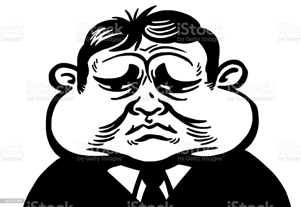Man With Swollen Face vector art illustration