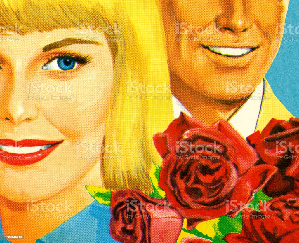 Man Woman and Red Roses vector art illustration