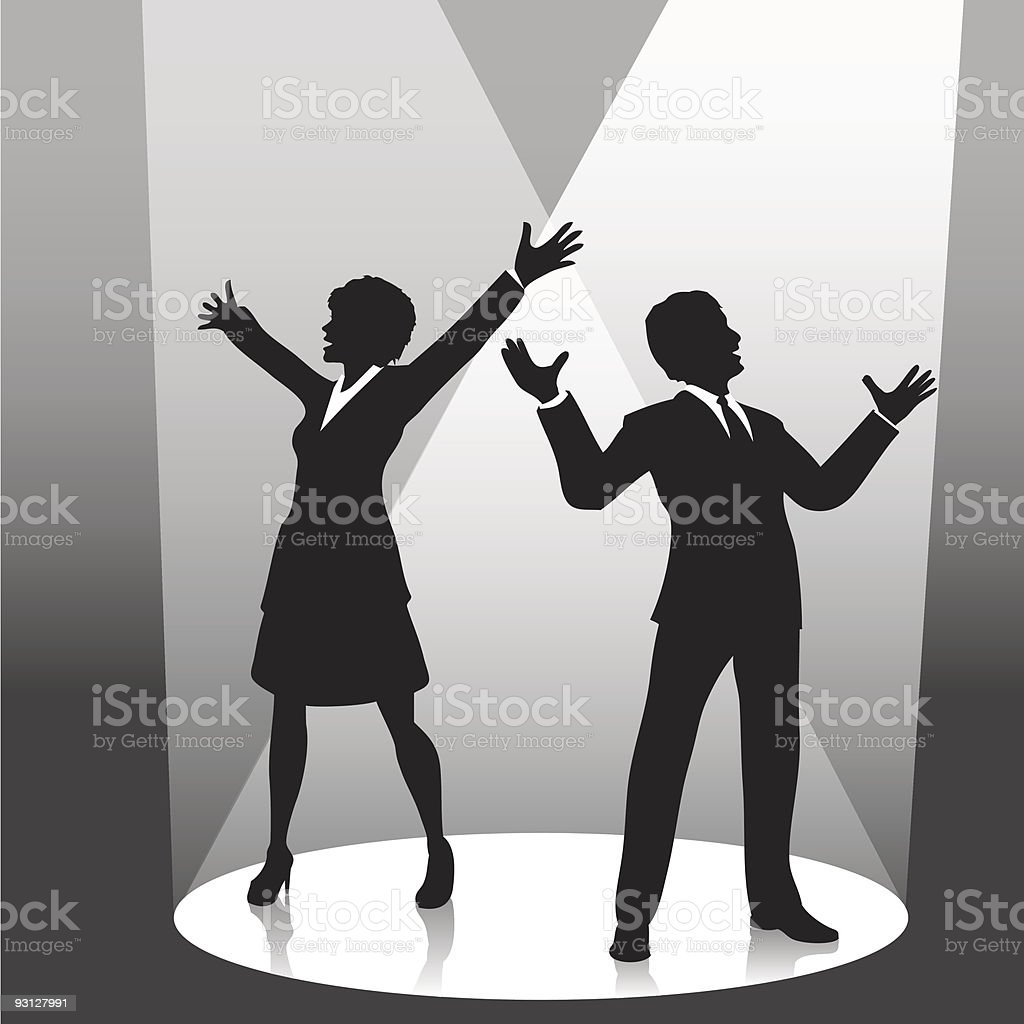 Man & Woman Business People Silhouettes on Stage Spotlight royalty-free stock vector art