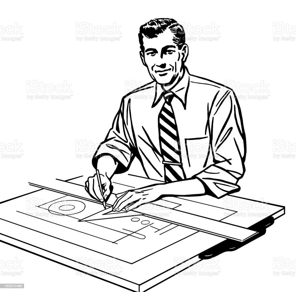 Man Working at Drafting Table vector art illustration