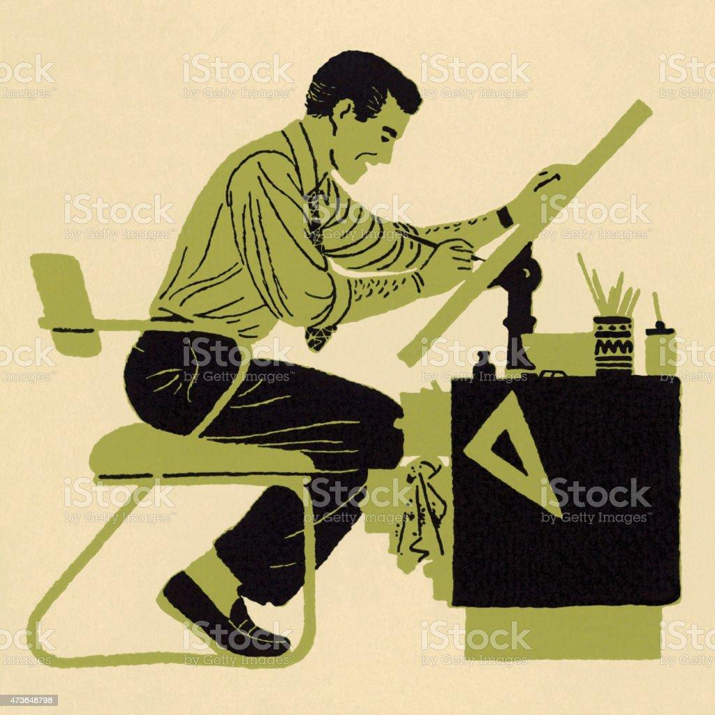 Man Working at Draftsmen Table vector art illustration