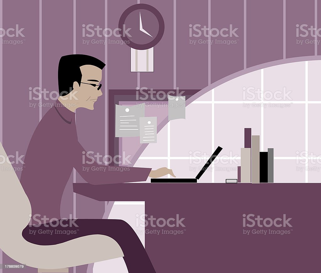 man working on his laptop computer vector art illustration