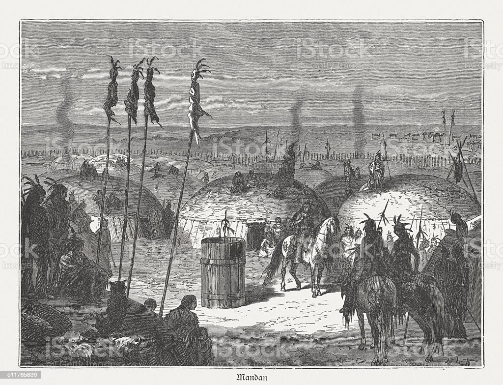 Mandan, native american indians, wood engraving, published in 1880 vector art illustration