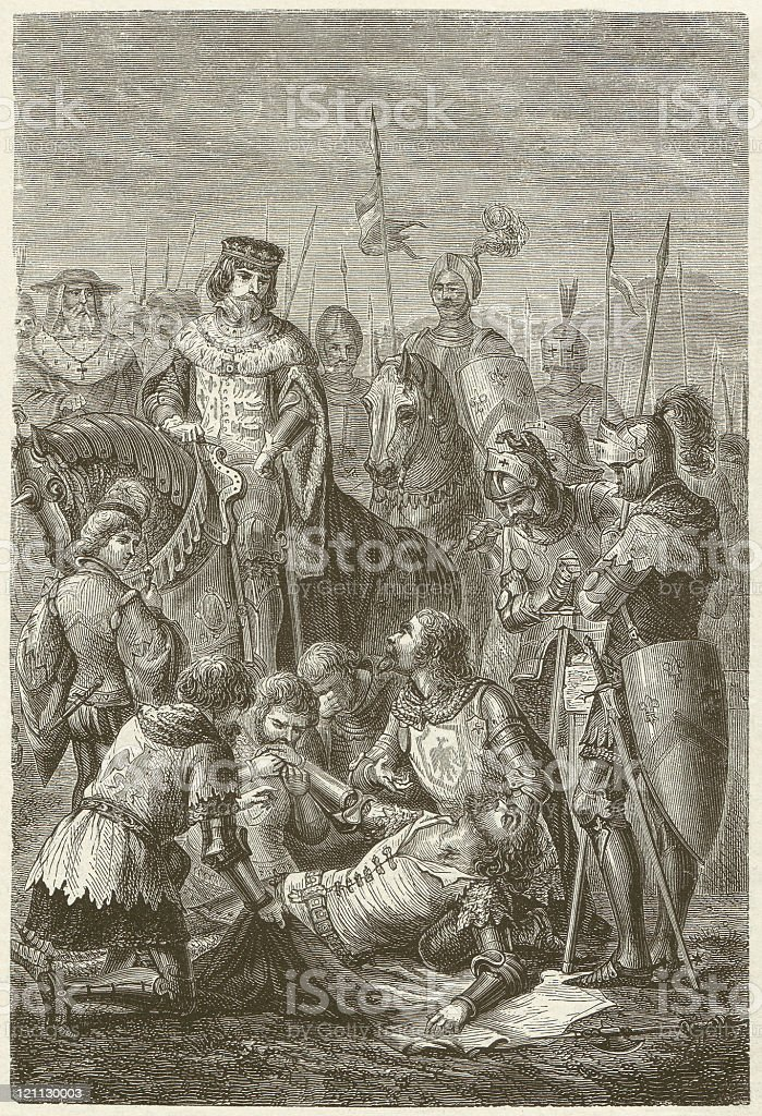 Manfred's death at the Battle of Benevento, 1266, published 1881 royalty-free stock vector art