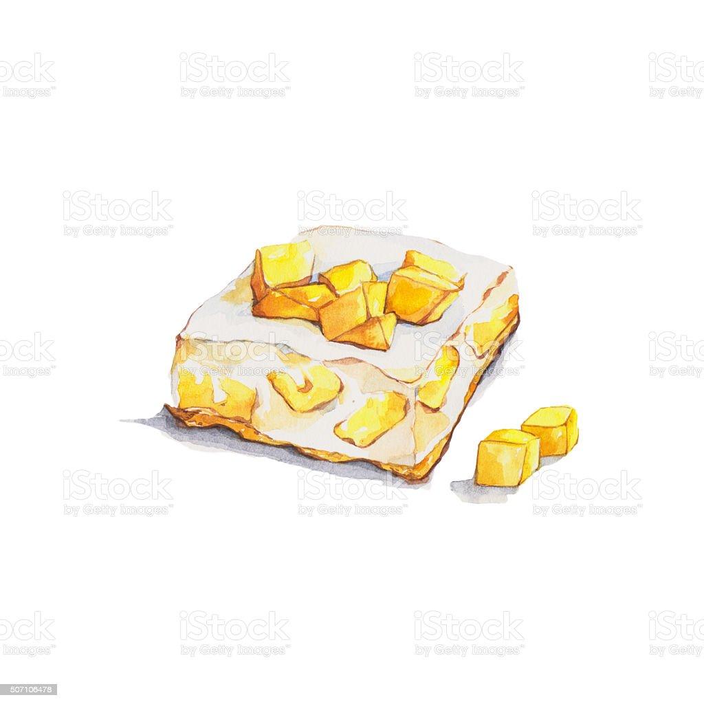 Mango cheesecake vector art illustration