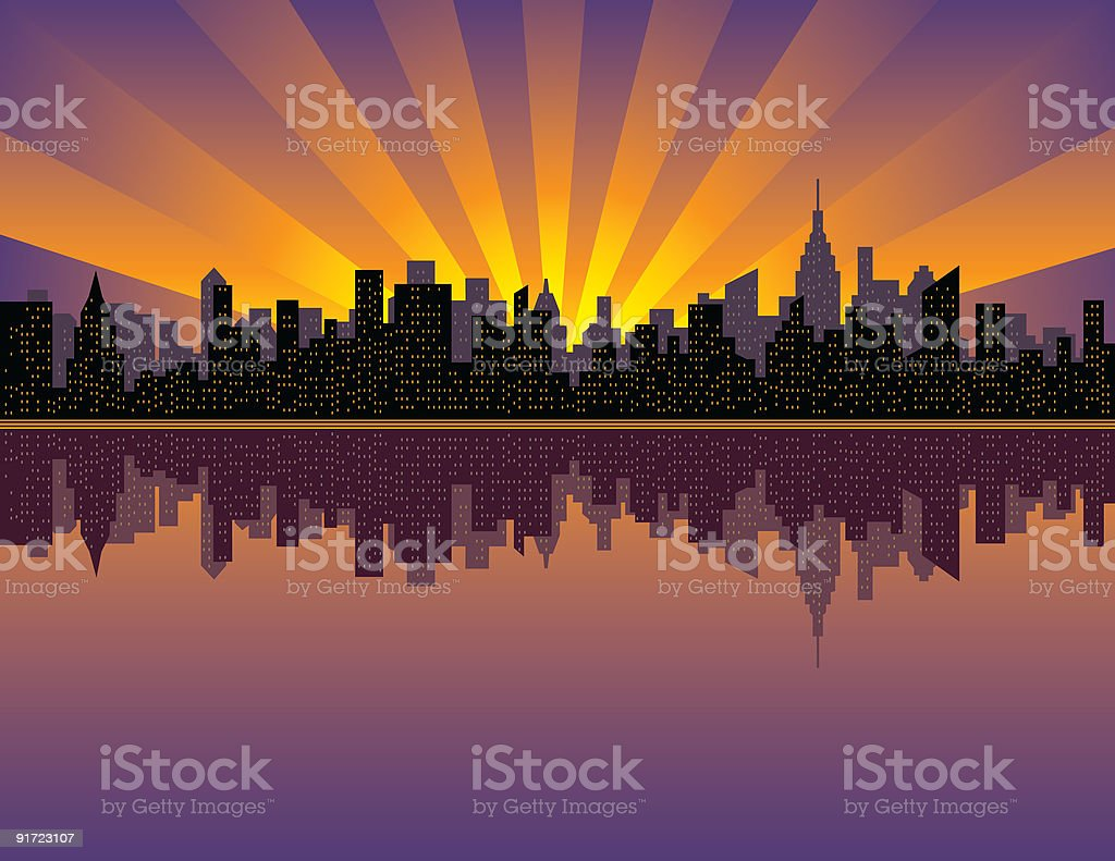 Manhattan Sunset vector art illustration