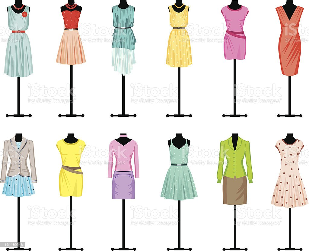 Mannequins with women's clothing vector art illustration