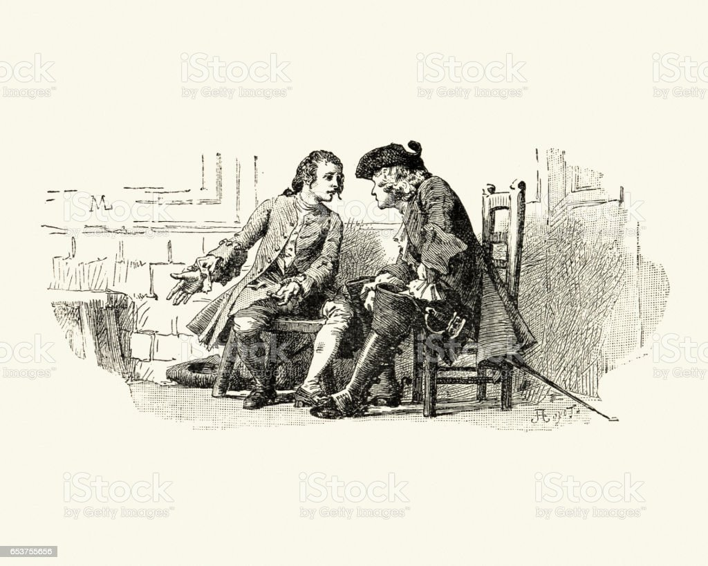 Manon Lescaut - Two 18th Century men talking vector art illustration