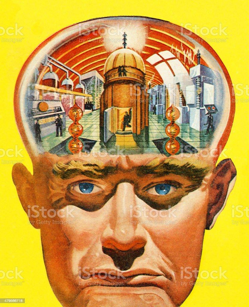 Man's Brain Powerplant vector art illustration