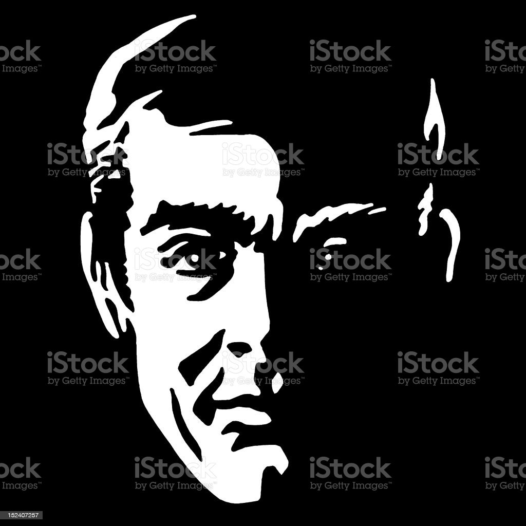 Man's Face in Shadow royalty-free stock vector art