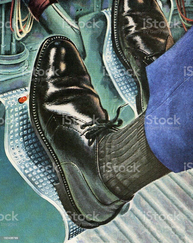 Man's Feet Driving Car vector art illustration