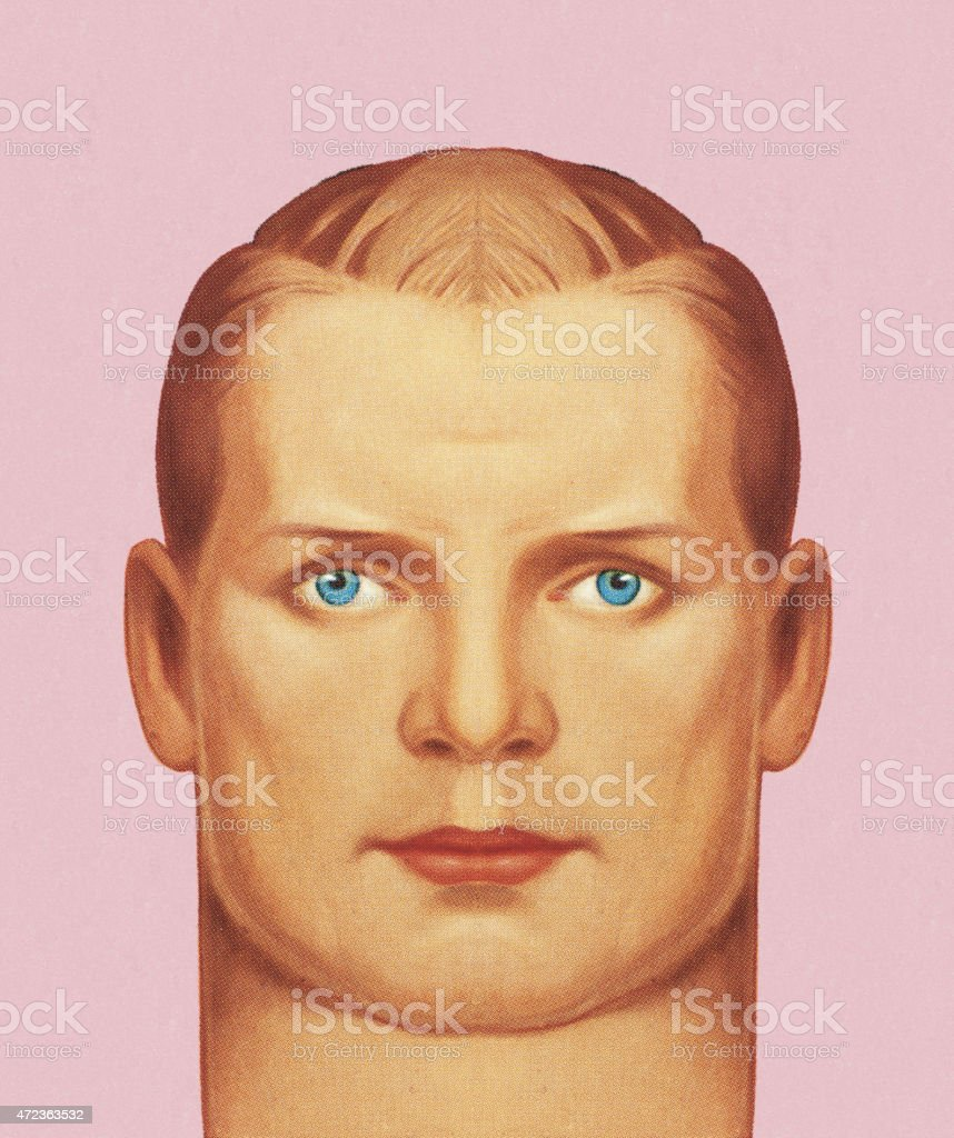 Man's Head vector art illustration