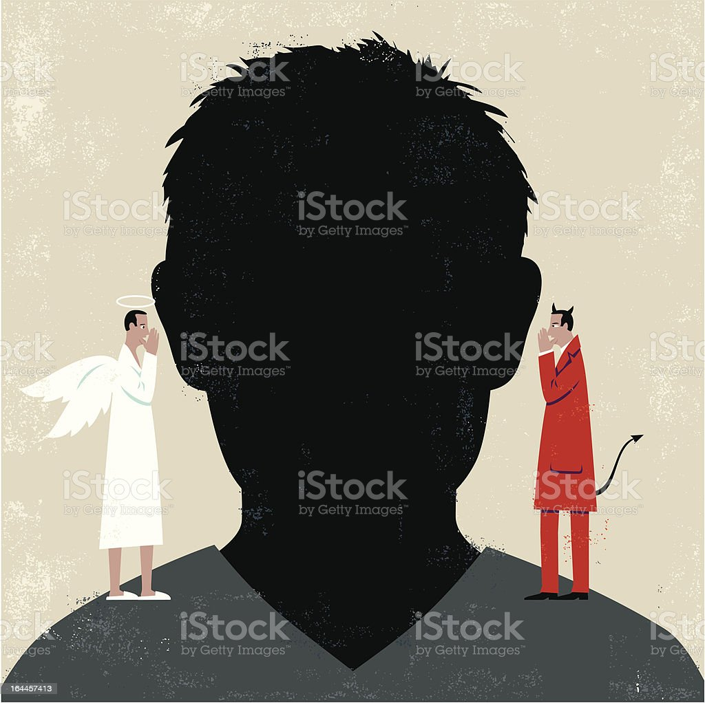 Man's head with devil and angel on shoulders royalty-free stock vector art
