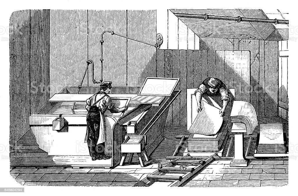Manual papermaking vector art illustration