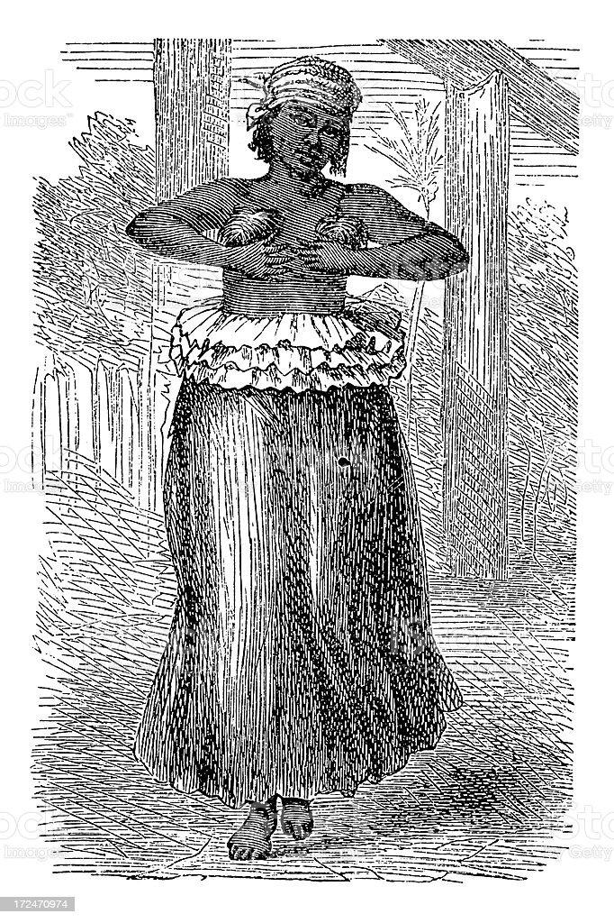 Maori dancer (antique wood engraving) vector art illustration