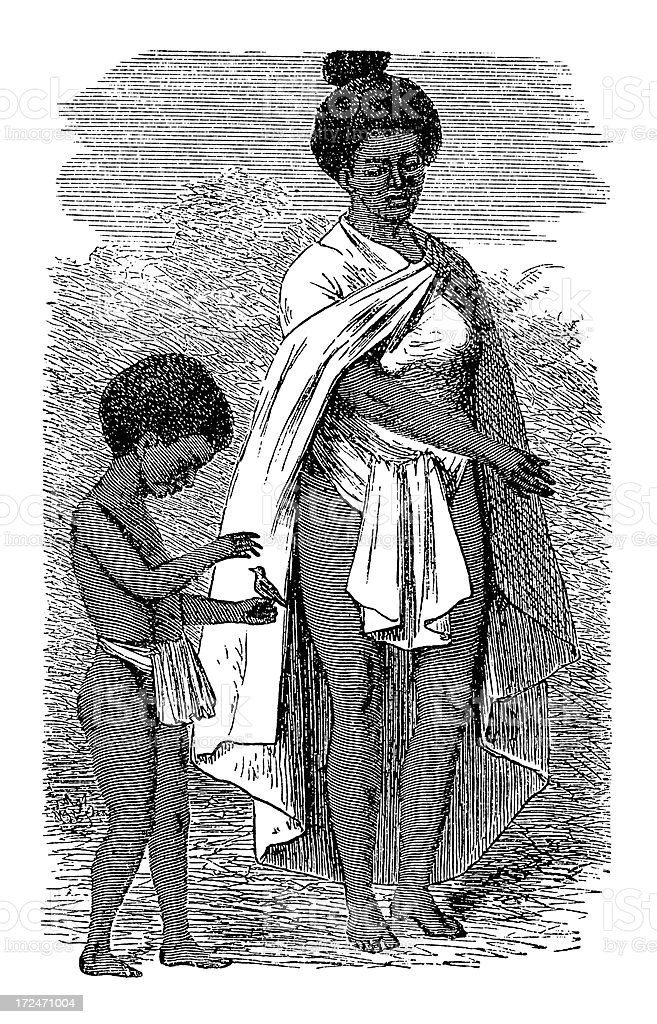 Maori woman and child (antique wood engraving) royalty-free stock vector art
