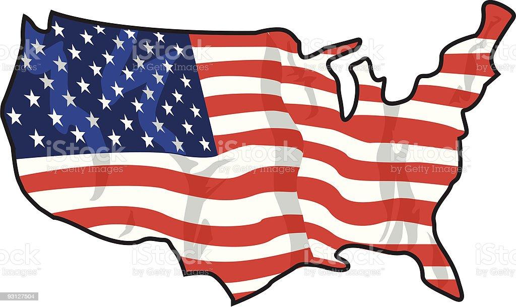 Usa Map American Flag Stock Vector Art IStock - Us flag on the map