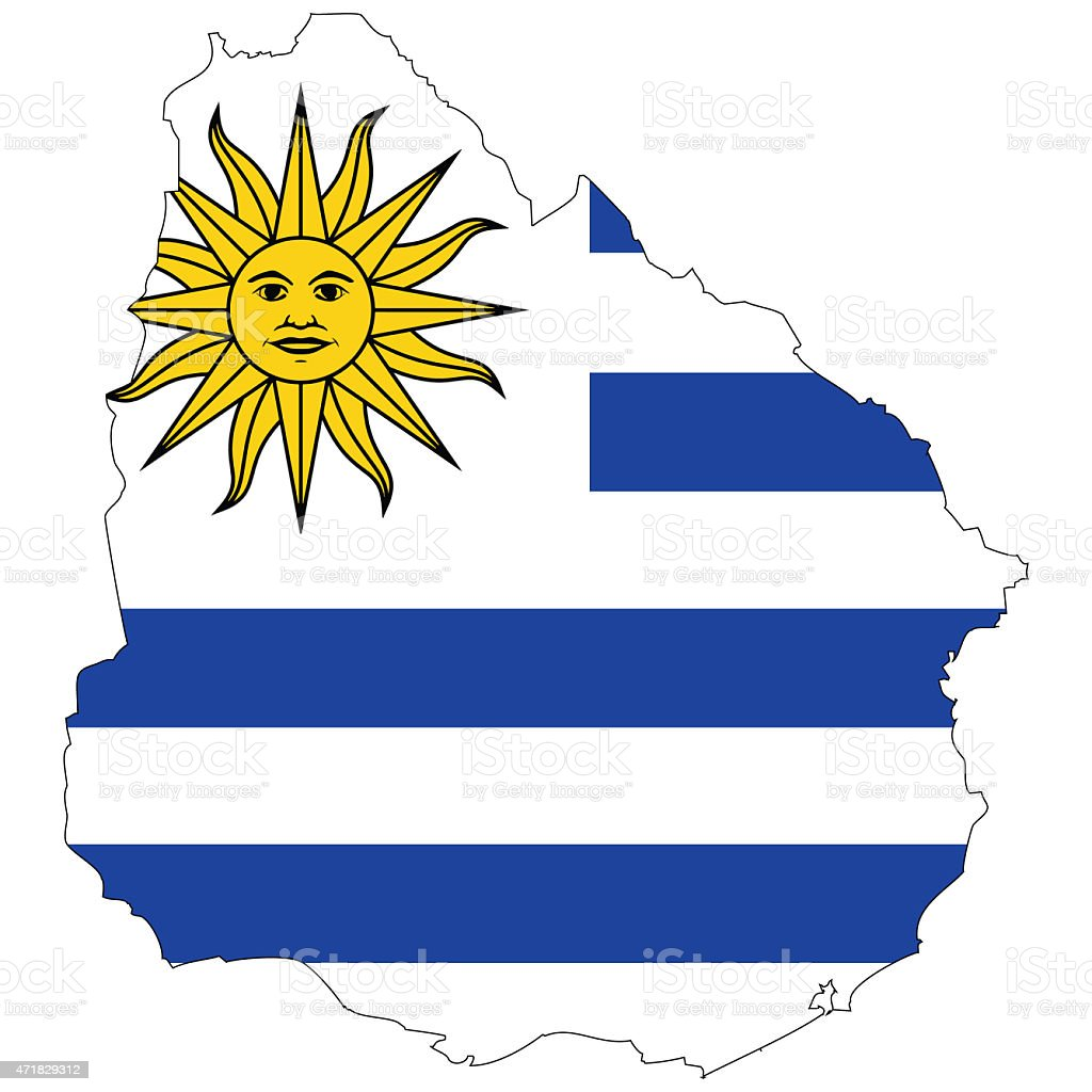 Map and flag Uruguay vector art illustration