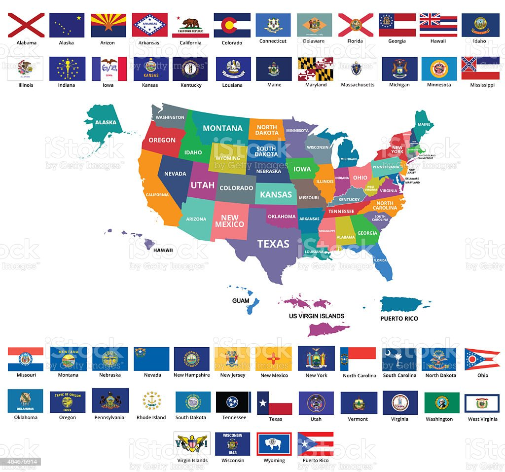 US map and flags with its territories vector art illustration