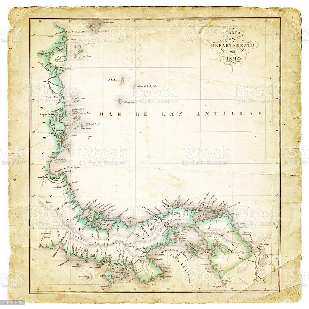 Map Department of Panama 1827 vector art illustration