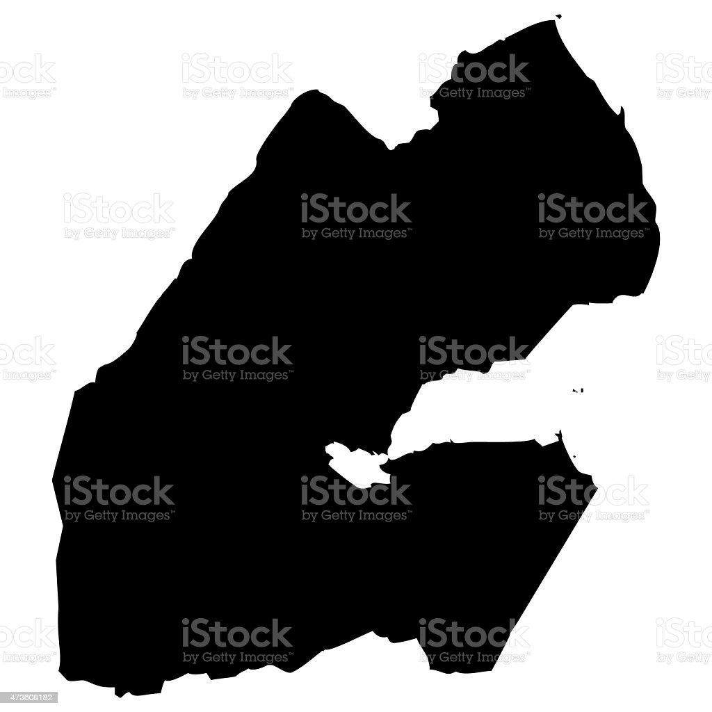 Map Djibouti vector art illustration