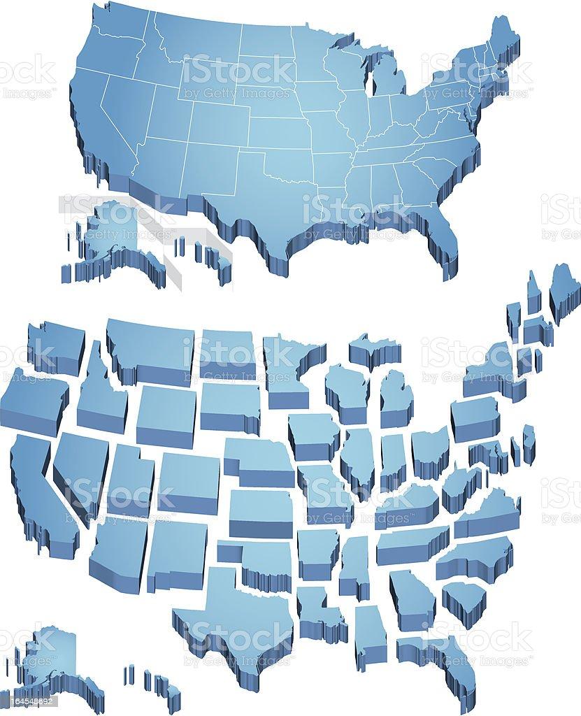 Us Map Stock Vector Art IStock - Us alaska hawaii vector map