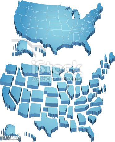 Us Map Stock Vector Art IStock - 3d us map