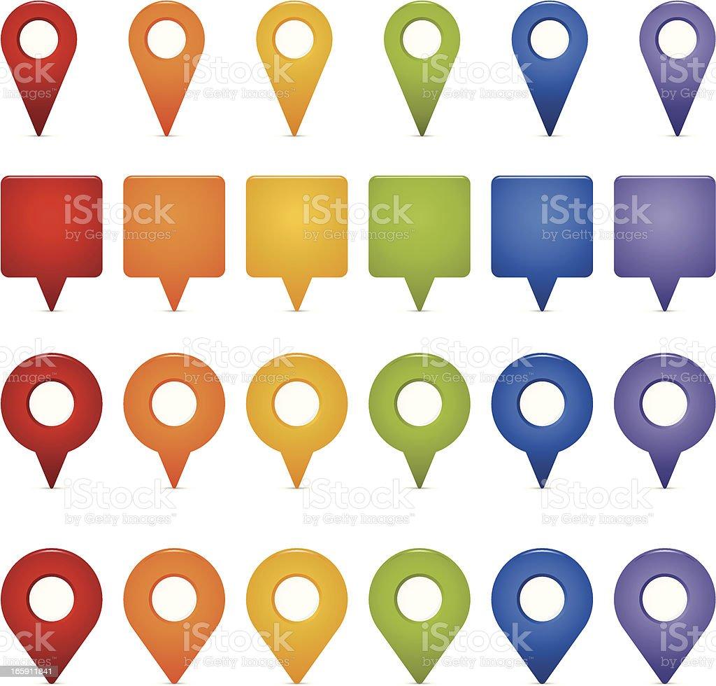 Map Markers vector art illustration