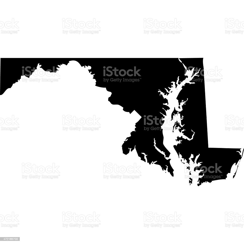 Map Maryland vector art illustration