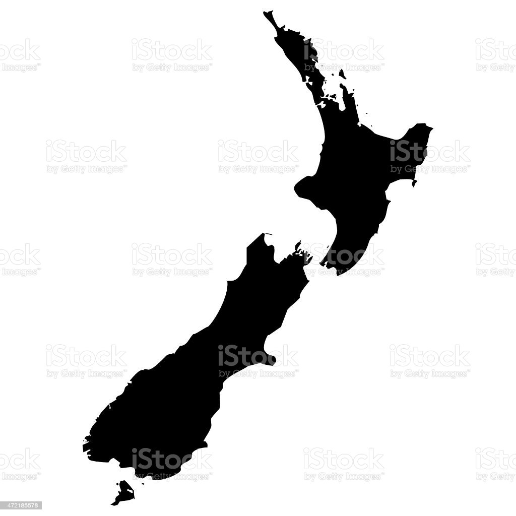 Map New Zealand vector art illustration