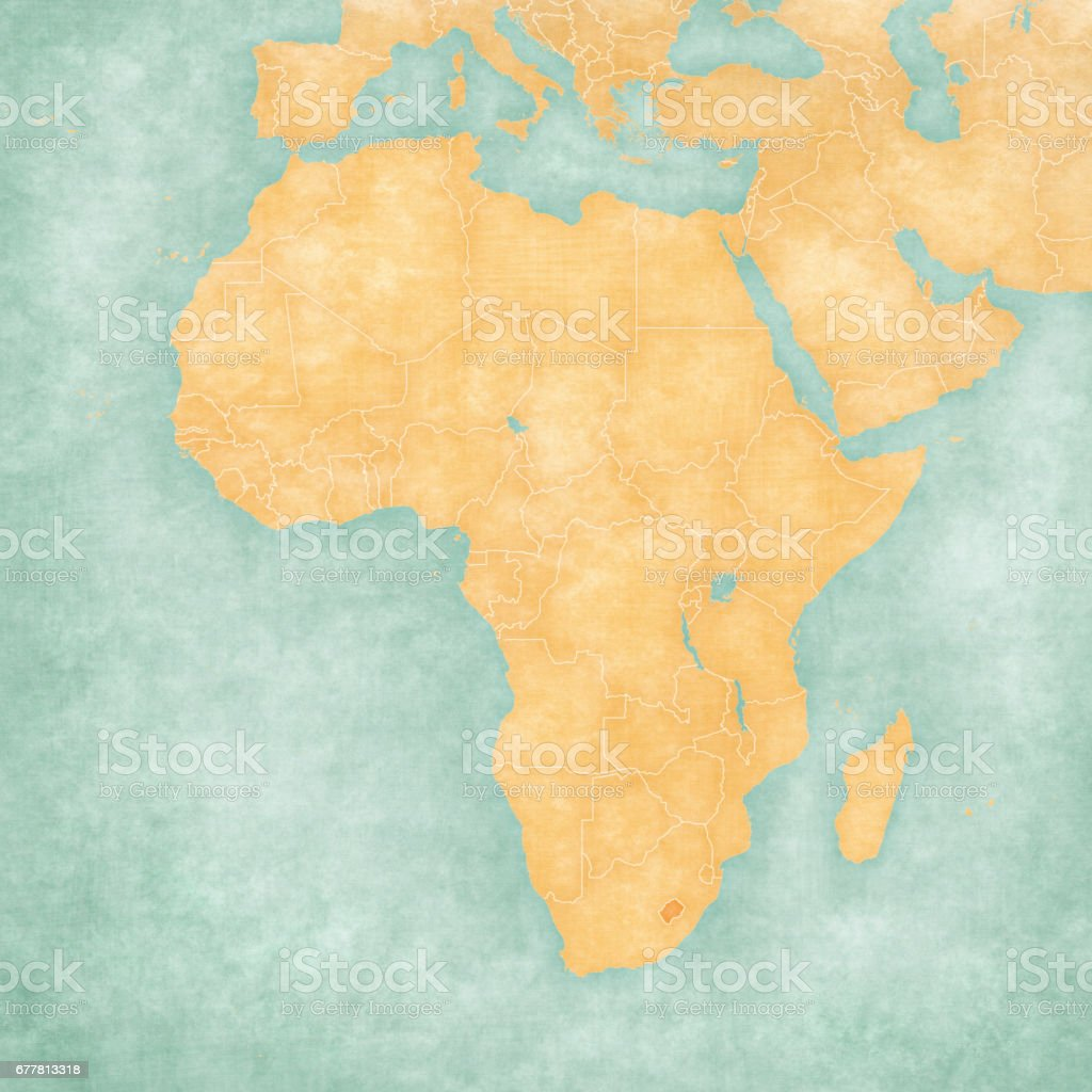 Map of Africa - Lesotho vector art illustration