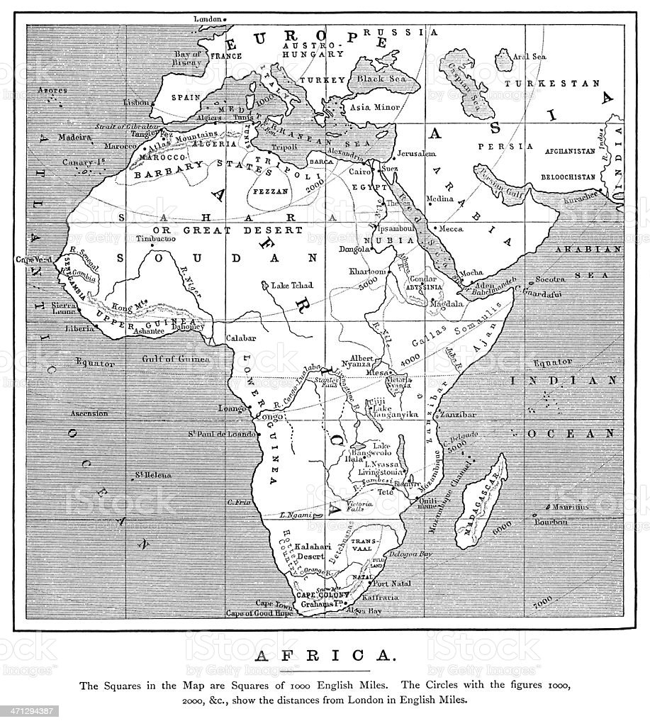 1882 map of Africa with distances from London vector art illustration